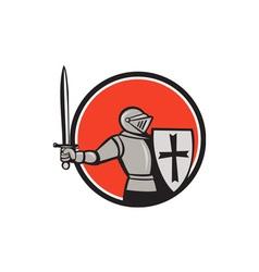 Knight Wielding Sword Circle Cartoon vector image vector image
