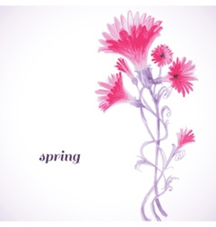 Pink flowers watercolor painting spring background vector image