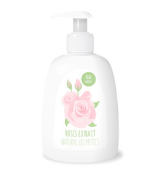 rose cosmetics white bottle vector image