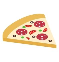 Salami pizza slice isometric 3d icon vector image vector image