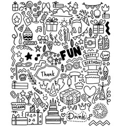 0063 hand drawn party doodle happy birthday vector