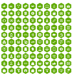 100 payment icons hexagon green vector