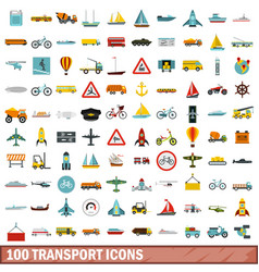 100 transport icons set flat style vector