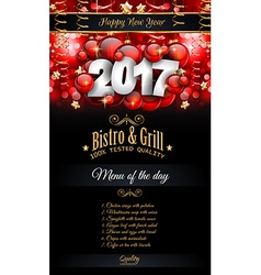 2017 Happy New Year Restaurant Menu Template vector