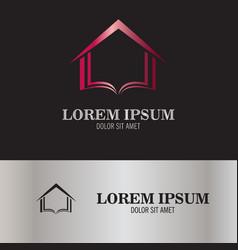 abstract book and arrow logo vector image