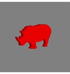 African rhinoceros on gray vector