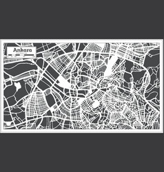 Ankara turkey city map in retro style outline map vector