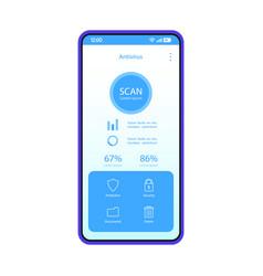 Antivirus smartphone app interface template vector