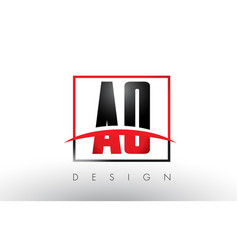 Ao a o logo letters with red and black colors vector