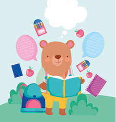 back to school cute bear reading book backpack vector image