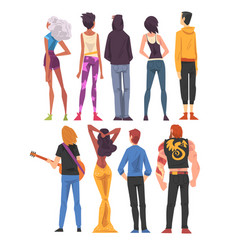 back view different people set guys and girls vector image