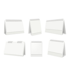 blank table calendar desktop organizer with white vector image