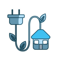 blue house with reduce power cable icon vector image