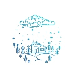 Blue winter landscape in round composition vector image