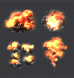 bomb explosion fire realistic explosion effect vector image