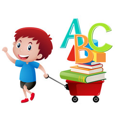 Boy pulling wagon with books and alphabets vector