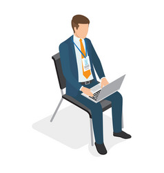 Businessman sitting on chair with laptop and vector