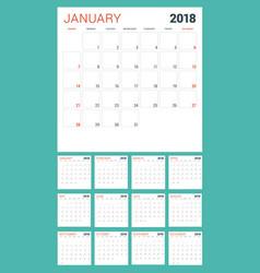 calendar planner for 2018 year week starts vector image
