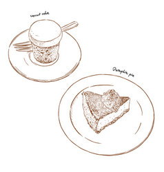 carrot cake and pumpkin pie hand draw sketch vector image
