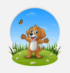 cartoon happy dog waving hand vector image
