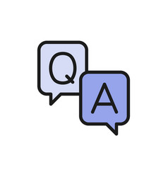 Chat cloud question with answer sign flat color vector