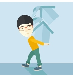 Chinese man carrying house and car vector image