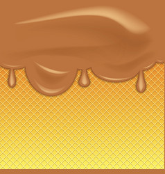 Chocolate ice cream flowing over waffle texture vector