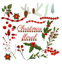 christmas floral wreath winter set floret holiday vector image
