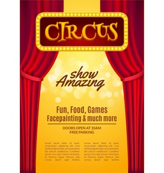 Circus show poster template with sign and light vector image
