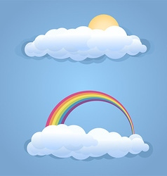 Clouds with sun and rainbow symbol isolated vector