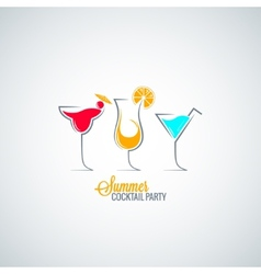 cocktail summer party menu background vector image