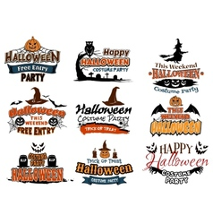 Colorful set of Happy Halloween designs vector image