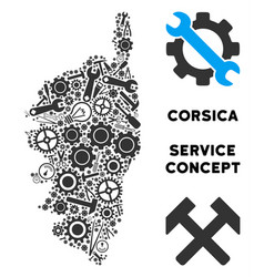 Composition corsica france island map of repair vector