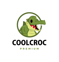 crocodile thumb up mascot character logo icon vector image