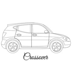Crossover car body type outline vector