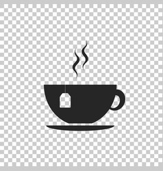 cup with tea bag icon on transparent background vector image