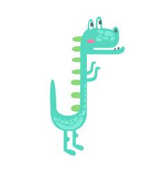 Cute little dino prehistoric animal character vector