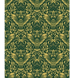 Damask seamless pattern with owl silhouette vector image