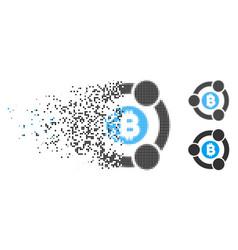 Disintegrating pixelated halftone bitcoin vector