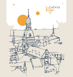 drawing sketch riga capital latvia vector image