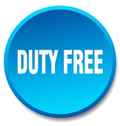 Duty free blue round flat isolated push button vector