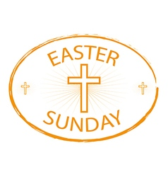 easter sunday stamp with cross symbol vector image