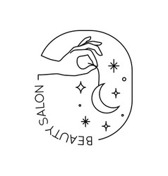 Emblem with female hand holding moon and stars in vector