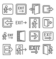 exit icons set on white background line style vector image