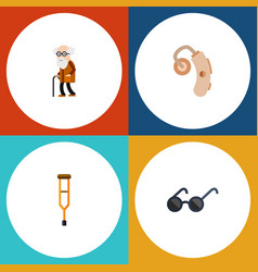 Flat icon handicapped set spectacles audiology vector