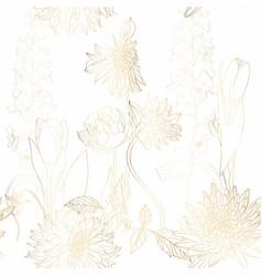 floral seamless pattern gold dahlia delphinium vector image