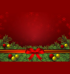gold and red background with snowflake and ball vector image