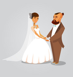 groom and bride romantic cartoon vector image