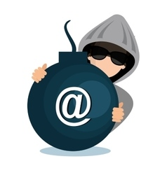 Hacking data mail server icon vector
