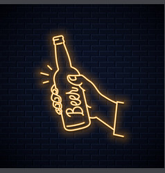 Hand hold beer bottle neon sign male a beer vector